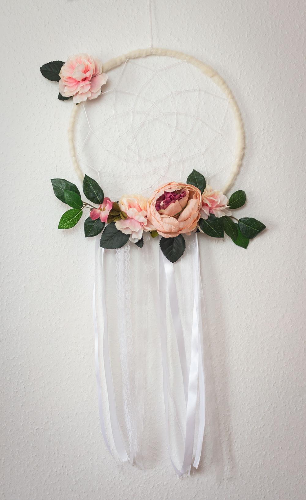 Attrape rêve fleurs tissu