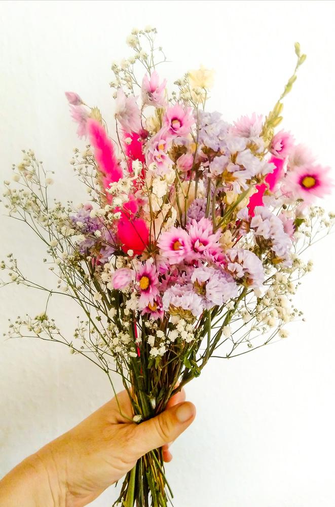 Bouquet de fleurs séchées Grenat grand